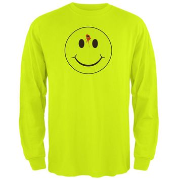 Smiley Face Bullet Hole Mens Long Sleeve T Shirt