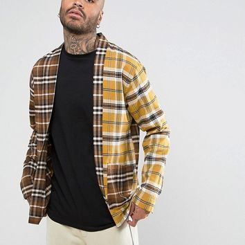Mennace Spliced Check Kimono Shirt at asos.com
