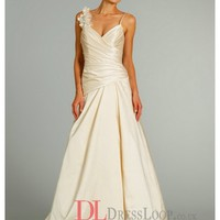 Asymmetrically Draped Dropped Waist Bodice Satin A-Line Bridal Gown AV9253