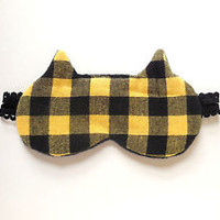 Sleep Mask Cat Ears Buffalo Plaid Fleece for Her Nap Blindfold Eyemask Eye Shade