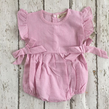 Pinstripe Pink Bow Romper