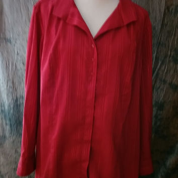 Maggie Barnes Blouse Plus Size 2X Red Metallic Button Down Career Top