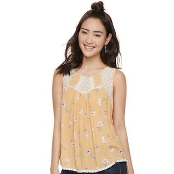 Juniors' Rewind Lace Yoke Tank Top | null