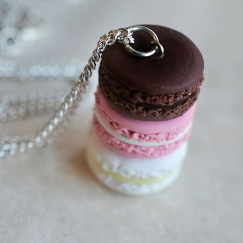 Neapolitan French Macaron Stack Dessert Necklace