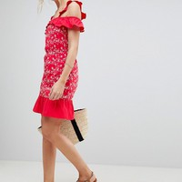 ASOS TALL Ruffle Cold Shoulder Broderie Sundress at asos.com