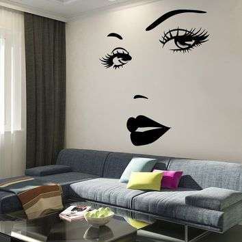 Wall Vinyl Decal Hot Sexy Face Girl Beauty Salon Decor Unique Gift z3757