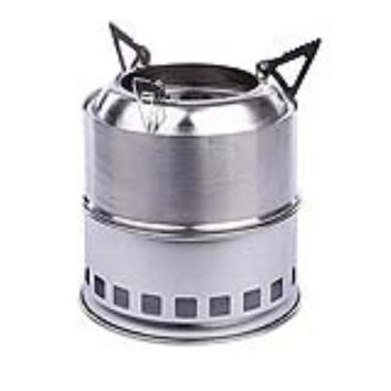 ESBU3C Stainless Steel Lightweight Wood Burning Camping Stove for Outdoor Cooking Picnic Barbecue Camping (Silver)