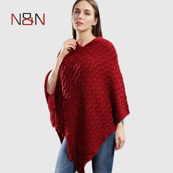 Warm Knitted Women Sweater Plus Size Solid Striped Sequins Poncho Winter Thick Tassel Sweater Batwing Sleeve Poncho And Capes