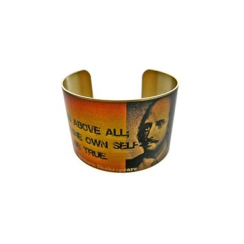 "William Shakespeare Vintage Style Brass Cuff Bracelet: ""to thine own self be true..."""