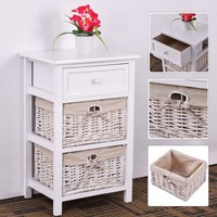 Costway 3 Tiers 1 Drawer Bedside Night Stand/End Table - White