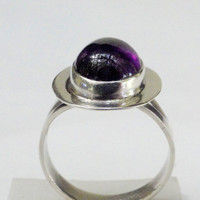 On SALE Vintage Handmade Amethyst Sterling Ring Many Inclusions Size 6