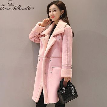 Trendy 2018 Winter Long Suede Jacket Faux Lambs Wool Women Outerwear Female Thick Coats Double Breasted Faux Leather Jackets S38 AT_94_13