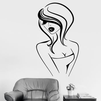 Vinyl Wall Decal Cartoon Sexy Girl Lips Hairstyle Beauty Hair Salon Stickers (2694ig)