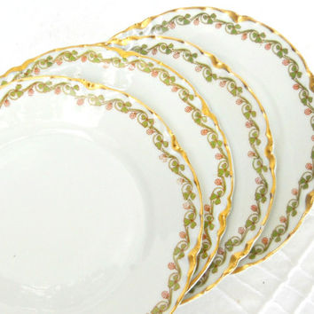 Haviland Limoges Floral Bread and Butter Plates, Set of 4, French Farmhouse, Cottage Style, Tea Party Plates, Dessert Plates