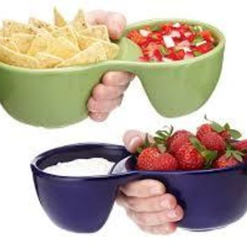 Stoneware Chips & Dip or Soup & Side Serving Bowl