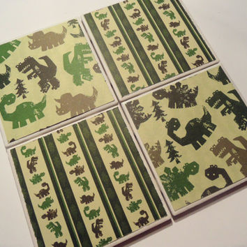Green and Brown Dinosaur Ceramic Coasters - set of 4 - Dinosaur Stamps Collection