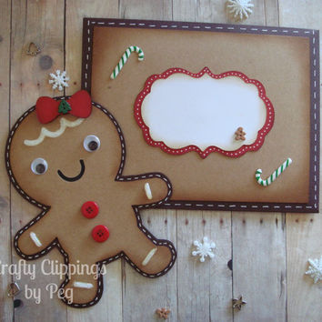 Christmas Card, Gingerbread Card, Gingerbread Girl, Gingerbread Cookies, Decor, Christmas Cookies, Cookie exchange, Gingerbread Man