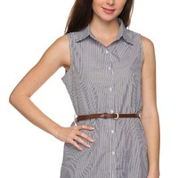 Casual Pinstripe Button Down Belted Sleeveless Shirt Tunic Dress Top