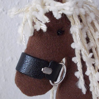 Stuffed fabric brown horse  -  baby shower gift - stuffed animal - fabric horse -handmade toy - softie - soft toy - home decor
