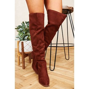 These Tulips Faux Suede Thigh High Boots (Rust)