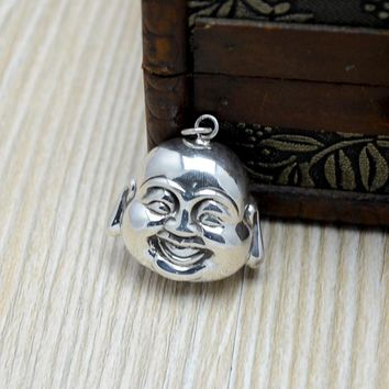 925 Sterling Silver Smile Buddha Head Pendant Jewelry