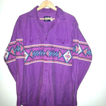 80s Men's Wrangler Button up South Western Southwest Shirt size 17.5-35 Regular Fit X-Long Tails