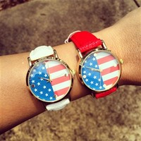 American Flag Watch Red
