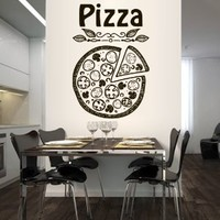 Wall Decal Vinyl Sticker Decals Art Decor Design Pizza interior Pizzeria Resaurant Italy Kitchen Food inscription signboard Fun M1519