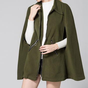 2016 Women Wool Blends Sexy Batwing Sleeve Turn Down Collar Jacket Ladies Zippers Solid Long Cloak Outerwear Coats