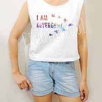 GALAXY I AM DIVERGENT Shirts Bird Shirts Galaxy Shirts Crop Top Crop TShirt Women Tank Top Women Tunic Women Shirts Teen Shirts - Size S M L