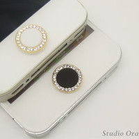 1PC Bling Crystal Framed Circle Alloy Apple iPhone Home Button Sticker for iPhone 4,4s,4g, iPhone 5, iPad, Cell Phone Charm