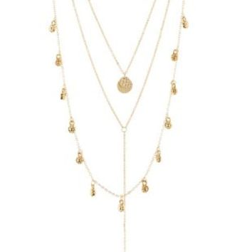 Medallion & Y Chain Layering Necklaces - 3 Pack - Gold