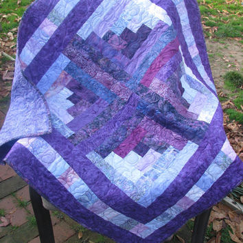 Baby Girl Quilt, Wall Hanging, Table Topper - Batik Purple Passion