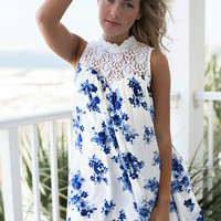 For Love Ivory and Blue Floral Dress