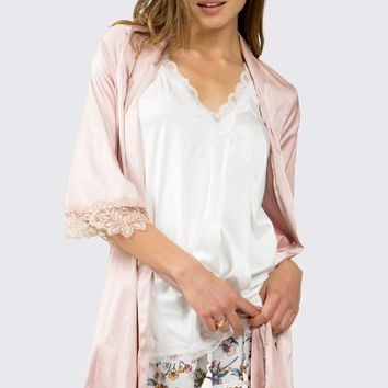 Sassy in Satin Robe - Rose