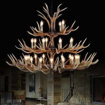 Antler Lamp In Pendant Chandelier 8/10/12/15 Arms Optional E14 Antler Chandelier Socket Chandelier High Quality Natural Resin