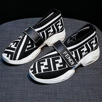 FENDI Newest Fashion Women Leisure Breathable Knit Running Sport Shoes Sneakers White&Black