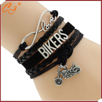 Drop Shipping Infinity Love Customised Text Bracelets Bangles Ride Biker Harley Motorcycle Charm Handmade Bracelet Name Custom