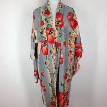 Vintage Silk Haori / Short Robe / Kimono Cardigan / Kimono Jacket / 1940s Art Deco / Grey Red Poppy IKAT Floral Print