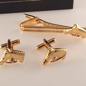 Horse Cufflinks, Race Horse Cufflinks, Horse Tie Bar, Men's Cuff Links, Wedding Cuff Links, Father's Day, Graduation Gift, Holiday Gift