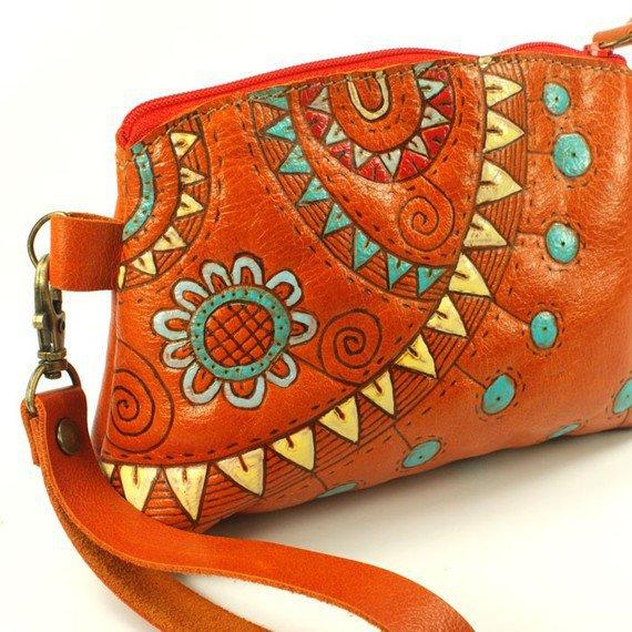 Sunday party orange Leather bag purses by rntn on Etsy