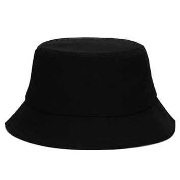 Unisex Casual Black Cotton Bucket Hat Boonie Hunting Fishing Sun Cap Hip Hop Hat