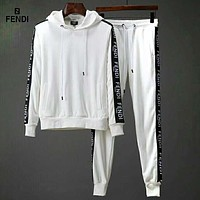 Fendi autumn and winter models tide brand men's self-cultivation hooded sweater sportswear two-piece white