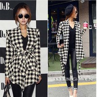 TFGS 2017 Fashion Spring Autumn Jacket Women Long Sleeve Houndstooth Print Top Casual Slim Belt Peplum Cardigan Coat Outerwear