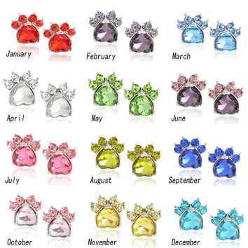 Attention Cat Moms! Crystal Paw Shaped Birthstone Earrings - Perfect Cat Lover Jewelry Birthday & Anniversary Gift For Her