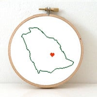 SAUDI ARABIA Map Cross Stitch Pattern. Easy Embroidery pattern to make Saudi Arabia poster with Riyadh