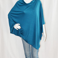 Peacock Blue Poncho/ Nursing Poncho/ Nursing Shawl/ One shoulder Tunic Top/ Lightwieght Cover Up/ Boho Poncho/ New Mom Gift