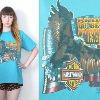 Vintage 80s Americana // Harley Davidson T Shirt //  3D HD Emblem // Eagle Graphic // Turquoise // One Size / Small Medium Large