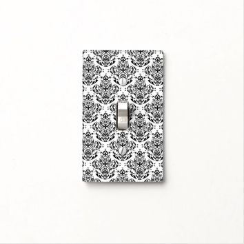 Stylish Elegant Black And White Damask Pattern Light Switch Cover