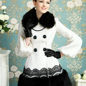 Vintage 2-Piece Faux Fur Puffy Sleeves Double Breasted Coat